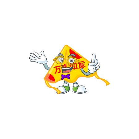 cartoon character of Geek chinese gold kite design. Vector illustration