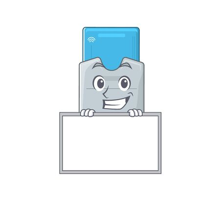 A cute picture of key card grinning with board. Vector illustration