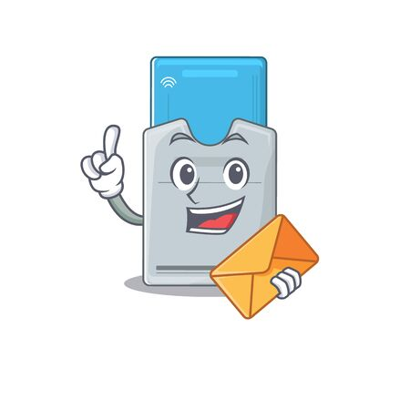 Cheerfully key card mascot design with envelope. Vector illustration