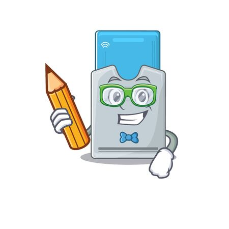 A picture of Student key card character holding pencil. Vector illustration