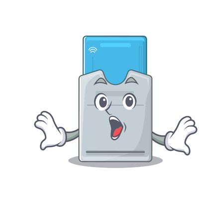 Key card cartoon character design on a surprised gesture. Vector illustration