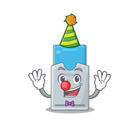 Funny Clown key card cartoon character mascot design. Vector illustration