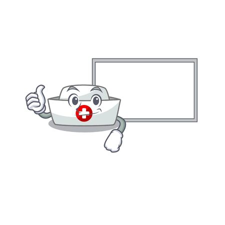 Thumbs up of nurse hat cartoon design with board. Vector illustration