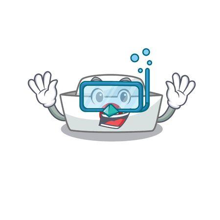 cartoon character of nurse hat wearing Diving glasses. Vector illustration Illustration