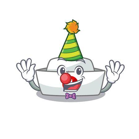 Funny Clown nurse hat cartoon character mascot design. Vector illustration