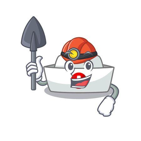 Cool clever Miner nurse hat cartoon character design. Vector illustration