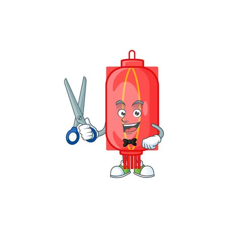 Cool friendly barber chinese traditional paper cartoon character style. Vector illustration