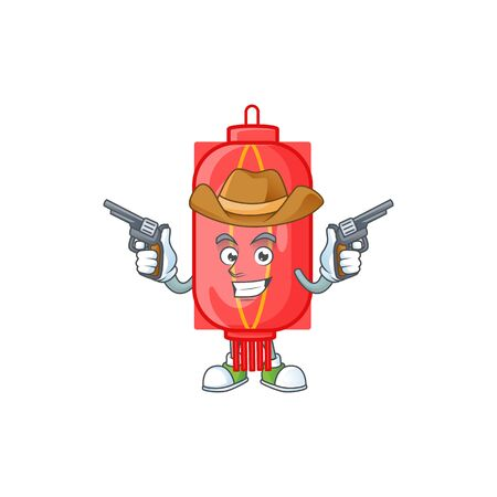 Confident chinese traditional paper Cowboy cartoon character holding guns. Vector illustration