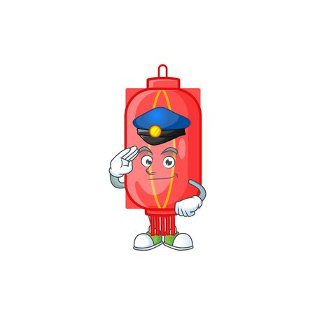A character design of chinese traditional paper in a Police officer costume. Vector illustration Stockfoto - 139588021