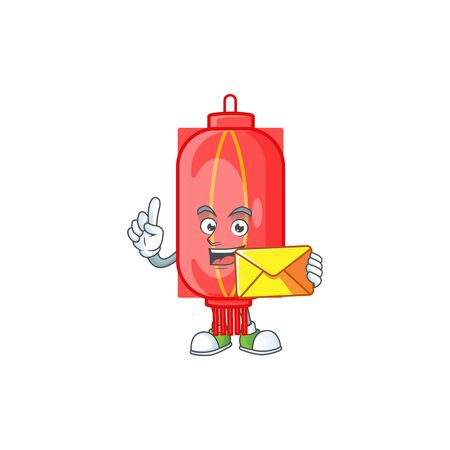 Cheerfully chinese traditional paper mascot design with envelope. Vector illustration
