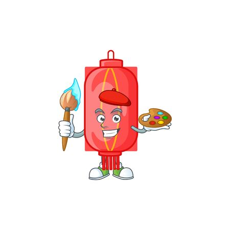 Smart chinese traditional paper painter mascot icon with brush. Vector illustration