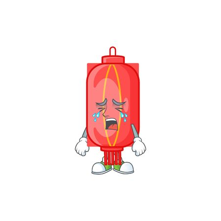 Sad of chinese traditional paper cartoon mascot style. Vector illustration