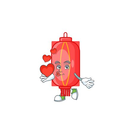 Funny Face chinese traditional paper cartoon character holding a heart. Vector illustration