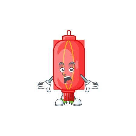 Chinese traditional paper cartoon character design on a surprised gesture. Vector illustration