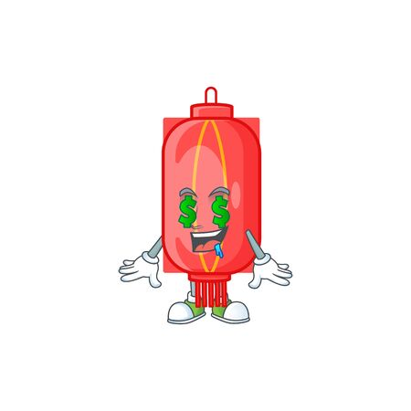 Happy rich chinese traditional paper with Money eye cartoon character style. Vector illustration Ilustracja