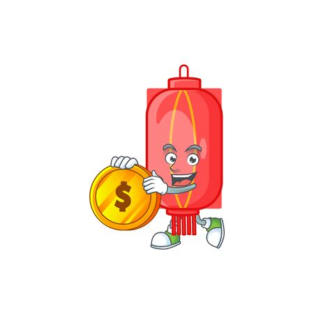 Rich chinese traditional paper mascot cartoon design style with gold coin. Vector illustration