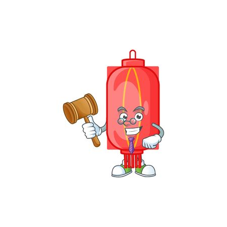 Smart Judge chinese traditional paper in mascot cartoon character style. Vector illustration