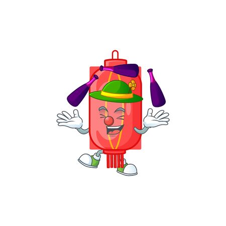 Smart chinese traditional paper cartoon character design playing Juggling. Vector illustration