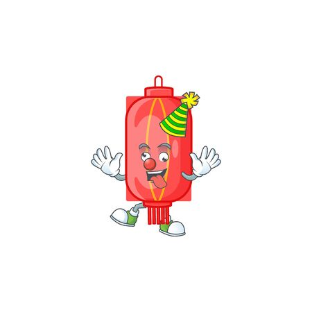 Funny Clown chinese traditional paper cartoon character mascot design. Vector illustration