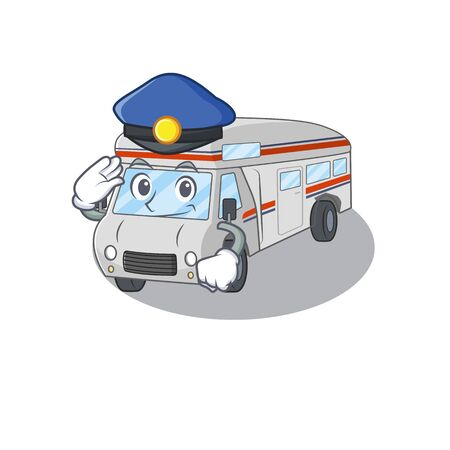 A manly campervan Cartoon concept working as a Police officer. Vector illustration