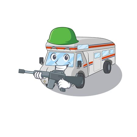 A cute picture of campervan Army with machine gun. Vector illustration