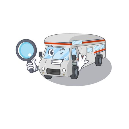 Elegant and Smart campervan Detective cartoon design concept. Vector illustration Ilustrace