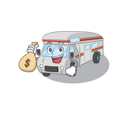 Rich and famous campervan cartoon character holding money bag 向量圖像