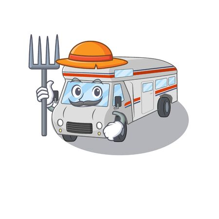 Happy Farmer campervan cartoon picture with hat and tools