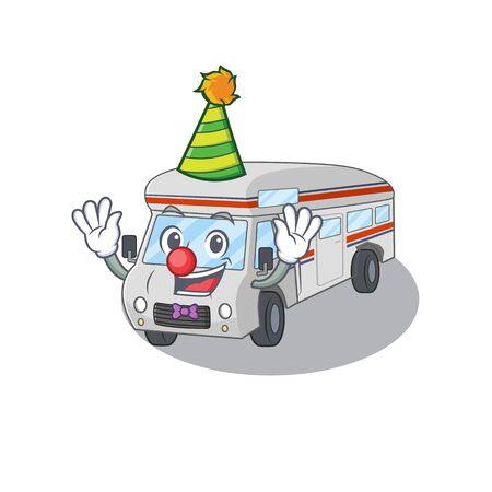 Funny Clown campervan cartoon character mascot design. Vector illustration