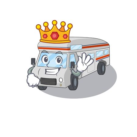 A cartoon mascot design of campervan performed as a King on the stage. Vector illustration Ilustracja