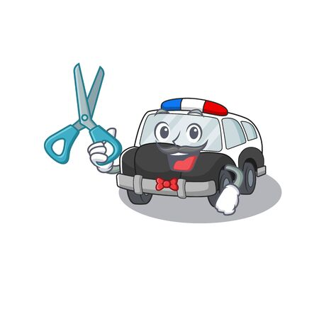 Cartoon character of Sporty Barber police car design style. Vector illustration 向量圖像