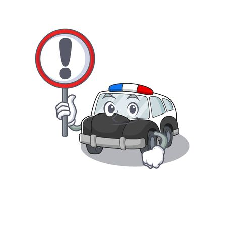cute mascot character style of police car raised up a sign. Vector illustration