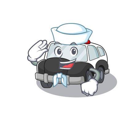 police car cartoon concept Sailor wearing hat. Vector illustration Standard-Bild - 139492793