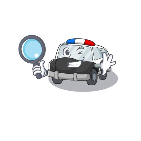 Elegant and Smart police car Detective cartoon design concept. Vector illustration