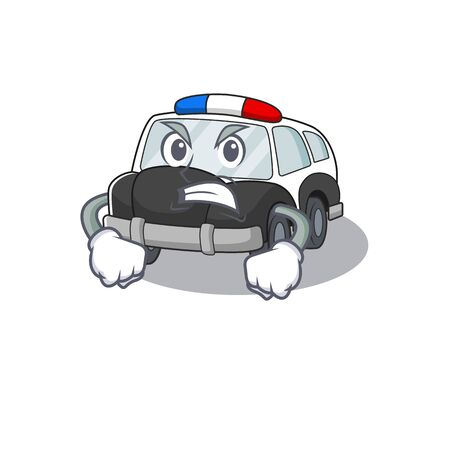 Police Car cartoon character style having angry face. Vector illustration