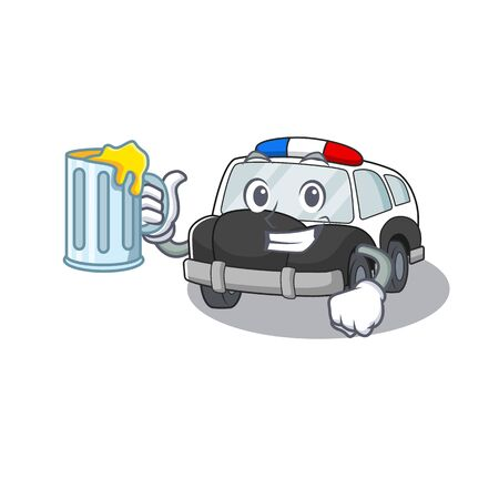 Smiley police car mascot design with a big glass. Vector illustration