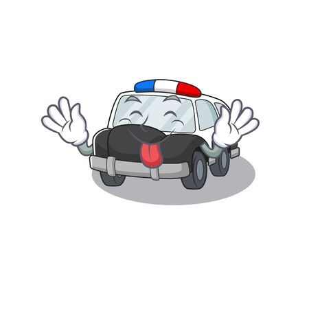Funny police car mascot design with Tongue out. Vector illustration Vettoriali