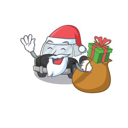 Santa police car Cartoon character design having box of gifts. Vector illustration