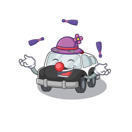 a lively police car cartoon character design playing Juggling