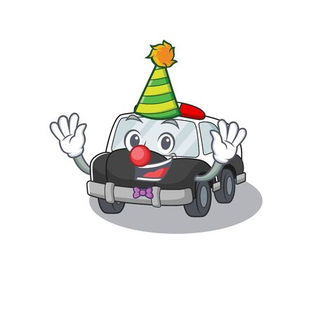 Funny Clown police car cartoon character mascot design. Vector illustration