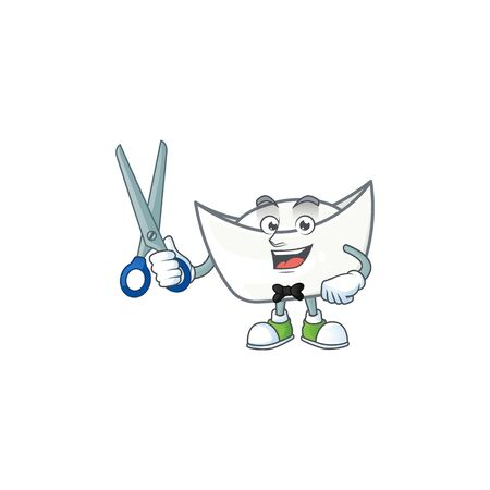 Happy smiling barber chinese white ingot mascot design style. Vector illustration