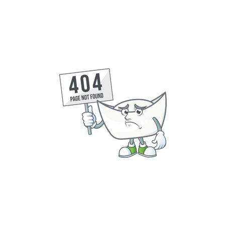 cheerless face chinese white ingot mascot style design raised up a board. Vector illustration