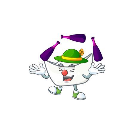 Smart chinese white ingot cartoon character style playing Juggling. Vector illustration