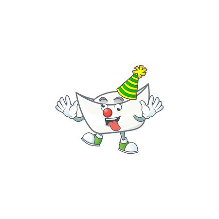 Cute and funny Clown chinese white ingot cartoon character mascot style. Vector illustration