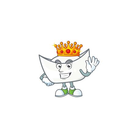 A dazzling of chinese white ingot stylized of King on cartoon mascot design. Vector illustration