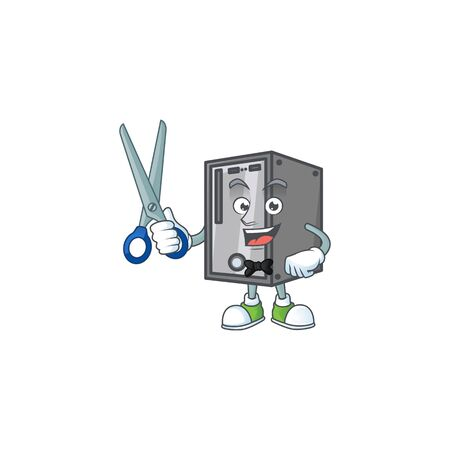 Happy smiling barber CPU mascot design style. Vector illustration