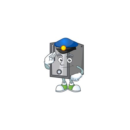 A character design of CPU working as a Police officer. Vector illustration