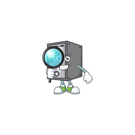 A famous of one eye CPU Detective cartoon character design . Vector illustration 일러스트