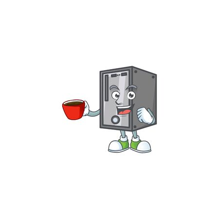Cool CPU cartoon character with a cup of coffee. Vector illustration Illustration