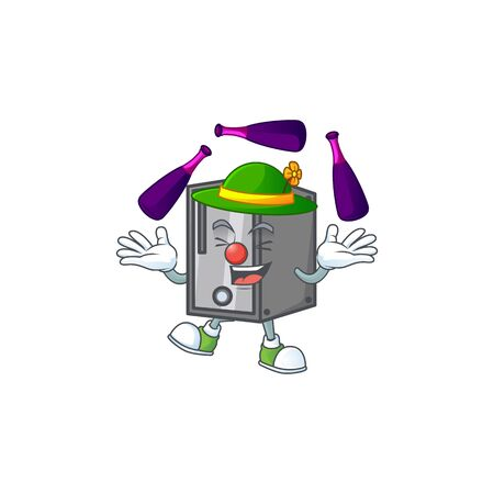 Smart CPU cartoon character style playing Juggling. Vector illustration